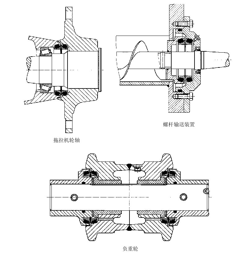 浮动油封的轴轮机械截面平面设计图